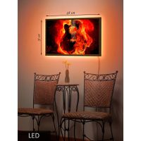 LED Картина Средняя, Огненная гитара