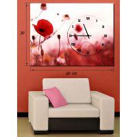 Часы-картина 30х40 на холсте Цветок мака