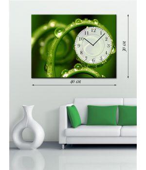 Часы-картина 30х40 на холсте Травинки в росе