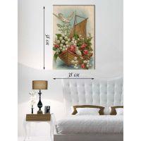 Картина на холсте 58х38 Цветочный корабль
