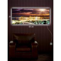 Картина с подсветкой 29х69 Город в лучах света