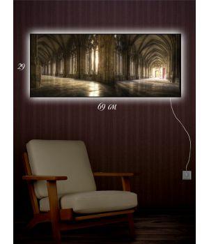 Картина с подсветкой 29х69 Стены музея