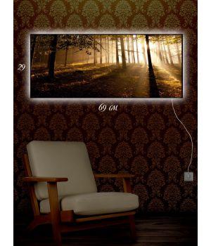 Картина с подсветкой 29х69 Солнечный лес