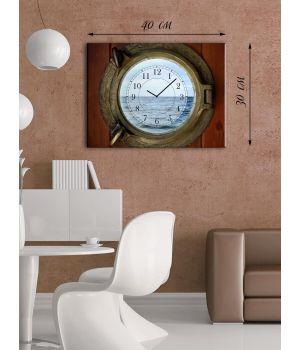 Часы-картина 30х40 на холсте Иллюминатор