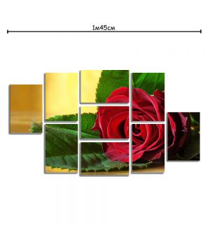 Модульная картина в спальню с принтом Красная роза