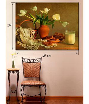 Картина на холсте 30х40 Белые тюльпаны
