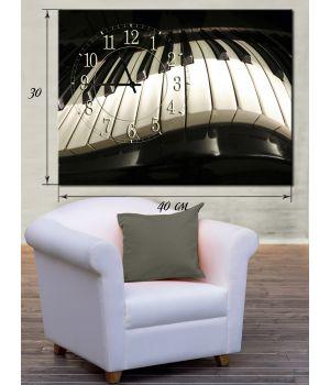 Часы-картина 30х40 на холсте Клавиатура фортепиано