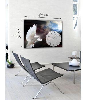 Часы-картина 30х40 на холсте Белый голубь