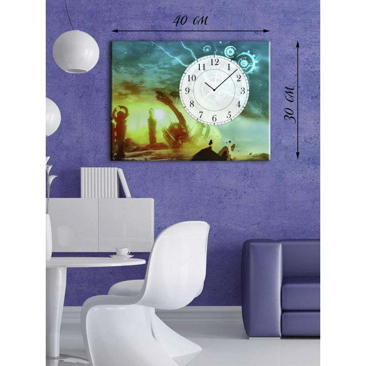 Часы-картина 30х40 на холсте Древние руины