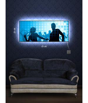 Картина с подсветкой 29х69 Танцоры диско