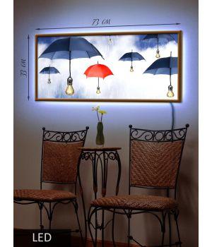 LED Картина Зонты на лампочках