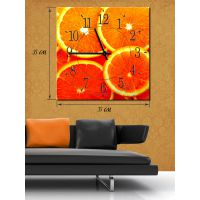 Часы-картина 35х35 на холсте Апельсиновая радость
