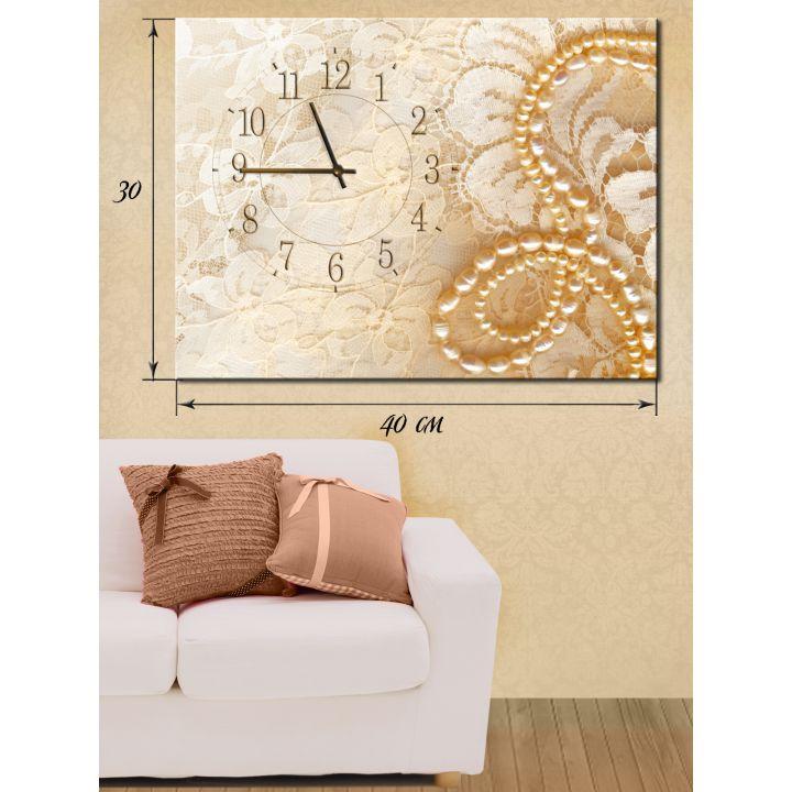 Часы-картина 30х40 на холсте Жемчужное ожерелье
