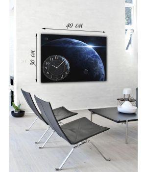 Часы-картина 30х40 на холсте Голубая планета
