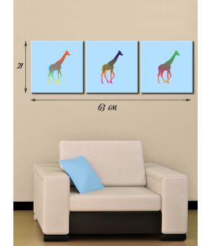 Модульная картина на холсте Три жирафа