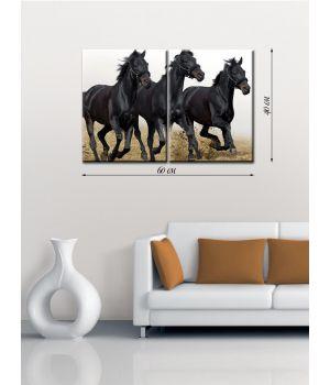 Модульная картина на холсте Тройка вороных коней