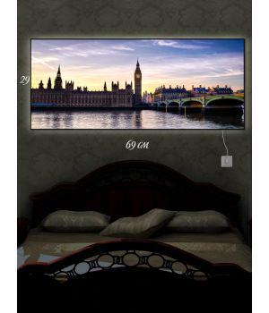Картина с подсветкой 29х69 Скромность Лондона