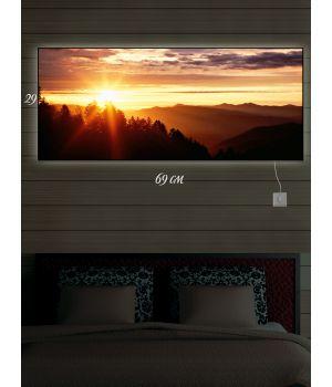 Картина с подсветкой 29х69 Утро в горах