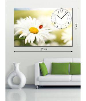Часы-картина 38х58 на холсте Божья коровка