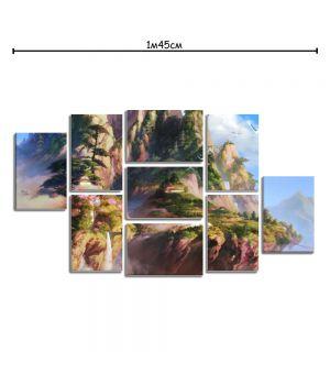 Модульная картина на холсте с принтом Сказочные горы