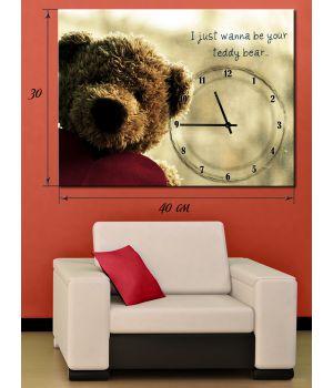 Часы-картина 30х40 на холсте Игрушечный мишка