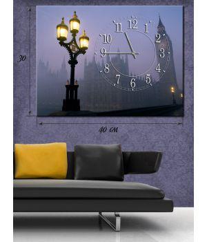 Часы-картина 30x40 Биг Бен и уличный фонарь