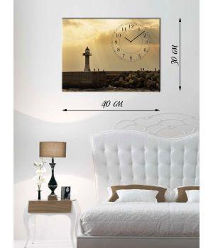Часы-картина 30х40 на холсте Маяк и рыбаки