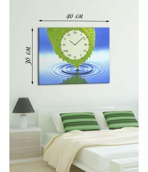 Часы-картина 30х40 на холсте Зеленый лист