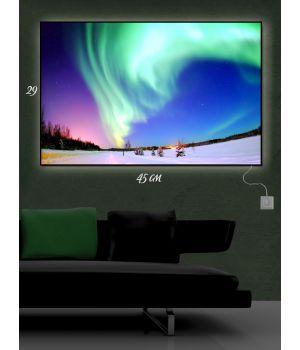 Картина с подсветкой 29х45 Полярное сияние на Аляске