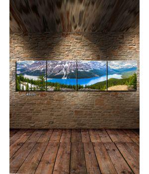 Панорамные модульные картины Река у горы