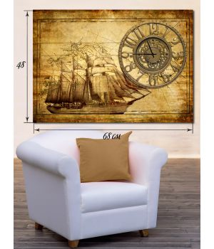 Часы-картина 48х68 на холсте Корабль