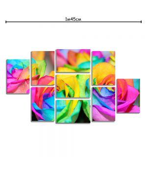 Модульная картина в гостиную с принтом Цветные розы