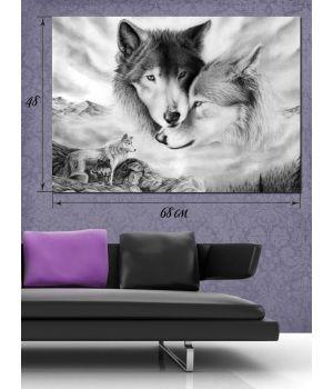 Картина на холсте 48х68 Волки
