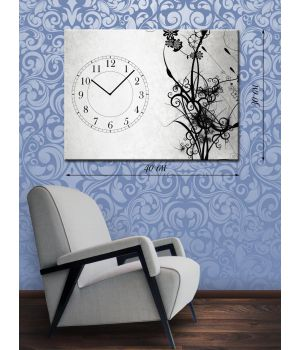 Часы-картина 30х40 на холсте Стебли растений