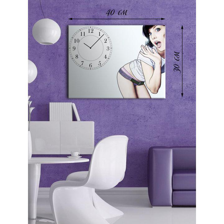 Часы-картина 30х40 на холсте Удивленная женщина