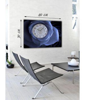 Часы-картина 30х40 на холсте Синий цветок
