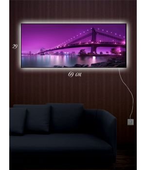 Картина с подсветкой 29х69 Мост через реку