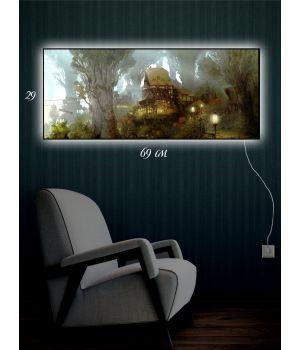 Картина с подсветкой 29х69 Сказочный город