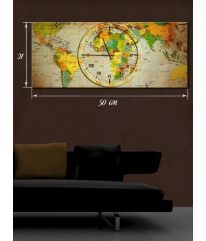 Часы-картина 21х50 на холсте Время путешествий