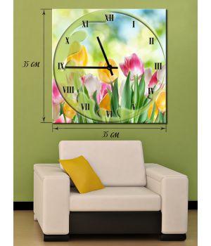 Часы-картина 35х35 на холсте Тюльпаны