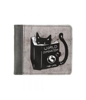 Необычный кошелек бумажник с принтом Доминация кота, экокожа