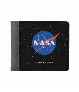 Необычный кошелек бумажник с принтом НАСА, экокожа