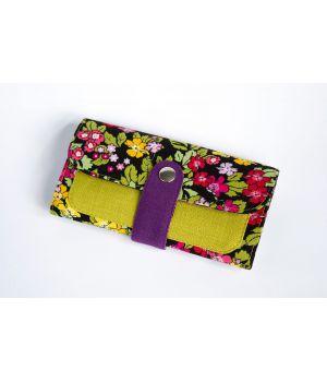 Большой дизайнерский кошелек женский с рисунком Японский сад