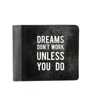 Необычный кошелек бумажник с принтом Мечты не работают, экокожа