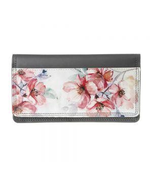 Необычный кошелек бумажник с принтом Цветение, экокожа