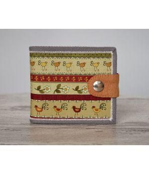 Женское портмоне дизайнерское с рисунком Золотой петушок с серым