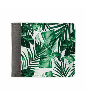 Необычный кошелек бумажник с принтом Листья, экокожа