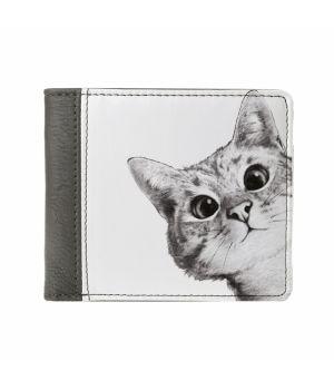 Необычный кошелек бумажник с принтом Эй, кот, экокожа