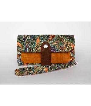 Большой дизайнерский кошелек женский с рисунком и ремешком Египетский