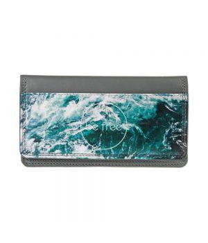 Необычный кошелек бумажник с принтом Be free, экокожа
